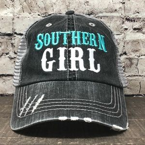 """Southern Girl"" Embroidered/Distressed Trucker Cap"
